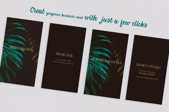 Canva Classy Black Gold Green Business Card Template Etsy Gold Business Card Cool Business Cards Visiting Card Templates