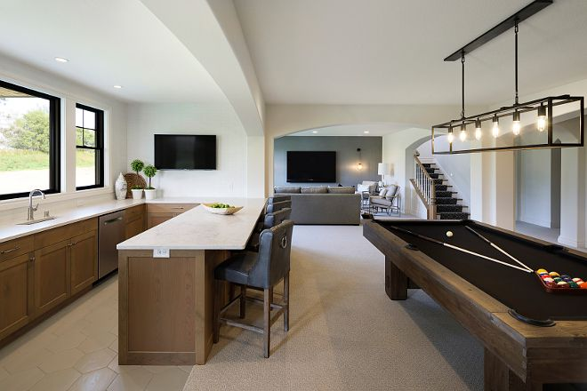 Basement Bar and Billiard Table Layout Basement Bar and Billiard Table Layout Ideas #Basement #Bar #BilliardTable more details on Home Bunch blog