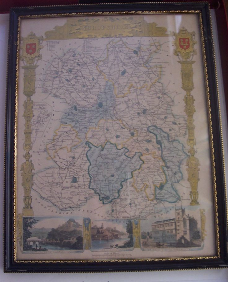 VINTAGE COLLECTIBLE FRAMED THOMAS MOULE MAP OF
