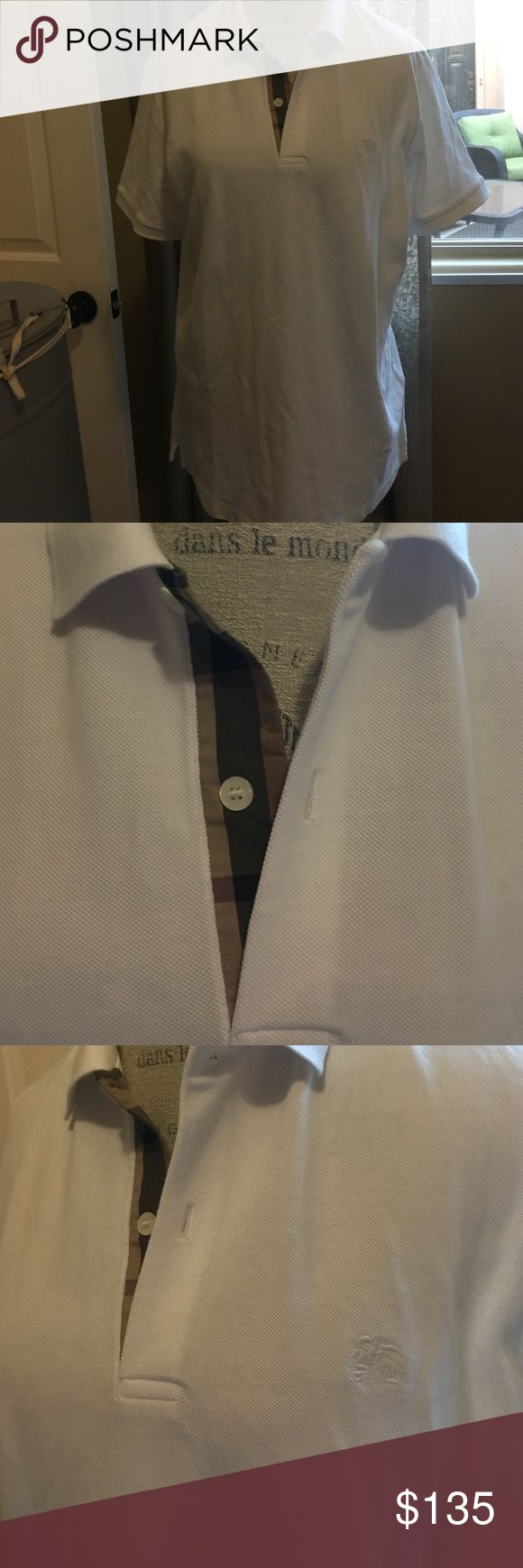 Men's Burberry shirt White Berberry shirt for men excellent condition worn two times Burberry Shirts Polos