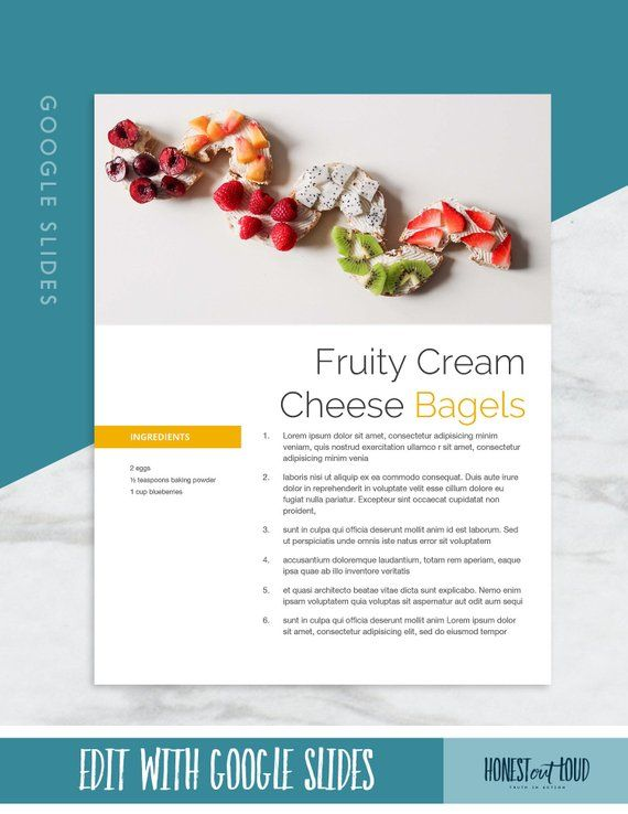 Recipe Cookbook Template Printable Google Slides 8 5 X 11 Etsy In 2021 Cookbook Template Food Printables Recipe Template