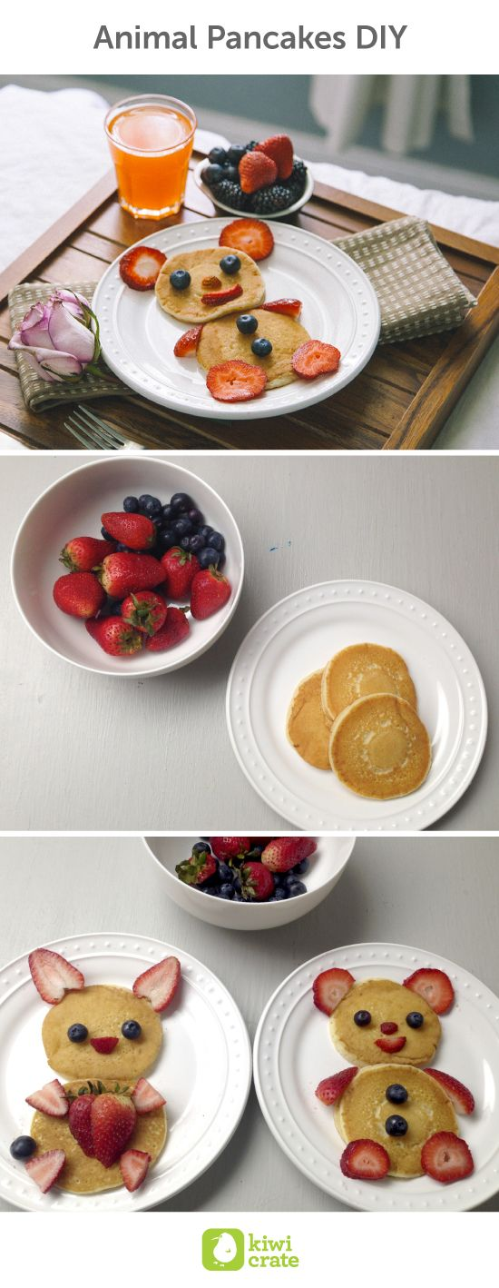 Animal Pancakes DIY. Treat mom with a customized breakfast in bed for Mother's Day, or really any day. I know my mom would like that! And with a little imagination, you can turn an ordinary breakfast into a creative masterpiece! Using some fresh fruits and pancakes, you can create plates of animal-shaped pancakes for the mom and the rest of the family. These treats are bound to brighten the day! Gifts. DIY. Ideas. Food. Happy. Kids. Brunch. Breakfast. Preschool. Party.