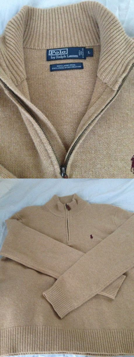 Sweaters 11484: Polo Ralph Lauren 100% Lambs Wool Half Zip Sweater Mens Size Large -> BUY IT NOW ONLY: $30 on eBay!