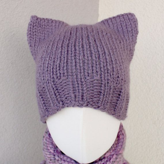 pussycat hat purple hat lavender hat knitted beanie by OlaKnits, #pussycathat, #purplehat