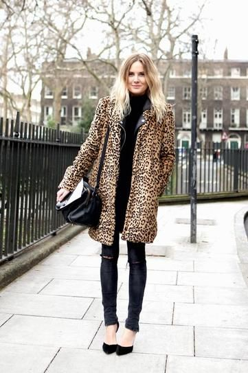 Styling 101: The Leopard Coat - Wear it with an all black ensemble—like a turtleneck sweater, ripped black skinny jeans + pointy-toe heels—for a foolproof street style worthy outfit!: