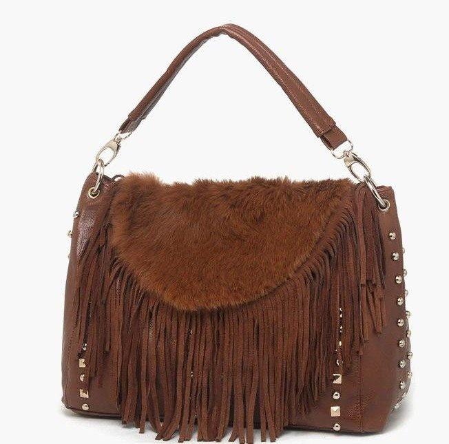 2013 novos chegada, bolsa de couro de vaca, coelho saco de pele, borlas bolsa, mulheres bolsas, bolsa Fringe Tassel, frete grátis