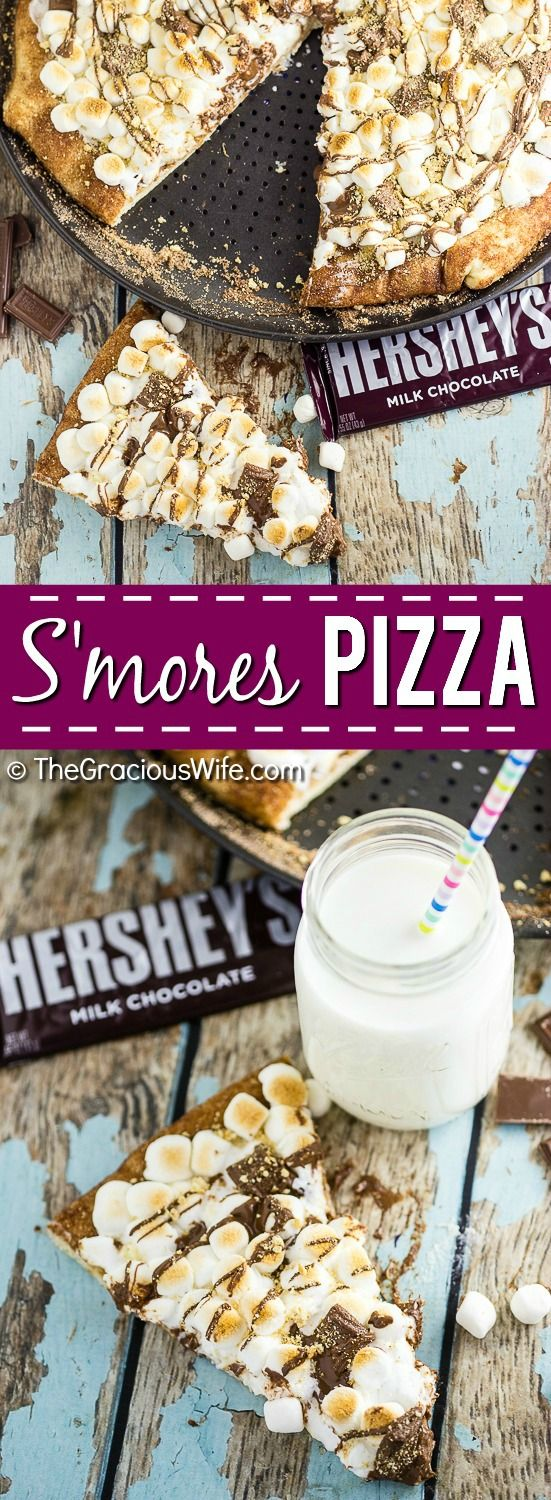 S'mores Pizza Recipe - S'mores Pizza with tons of gooey marshmallows and rich, decadent HERSHEY'S Milk Chocolate with a marshmallow cheesecake sauce, a chocolate drizzle, and a sprinkle of graham crackers, all on top of a cinnamon-sugar crust. This is such a quick and easy dessert recipe and it is soooo good. My kids love it. And I probably love it even more. Who doesn't love s'mores?