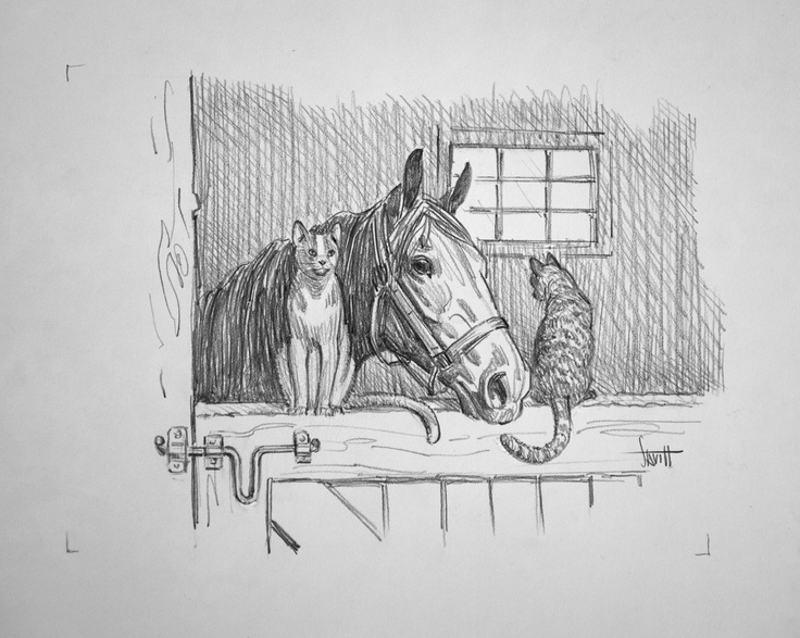 Original Pencil Drawing Horse And Two Cats By Sam Savitt From Artists Estate