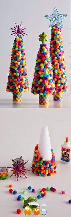Si tratta di procurarsi un cono(di cartone,plastica ecc),della colla e delle palline(di decoro,feltro,pannolenci,lana ecc) ed è fatta! (preso da http://vil