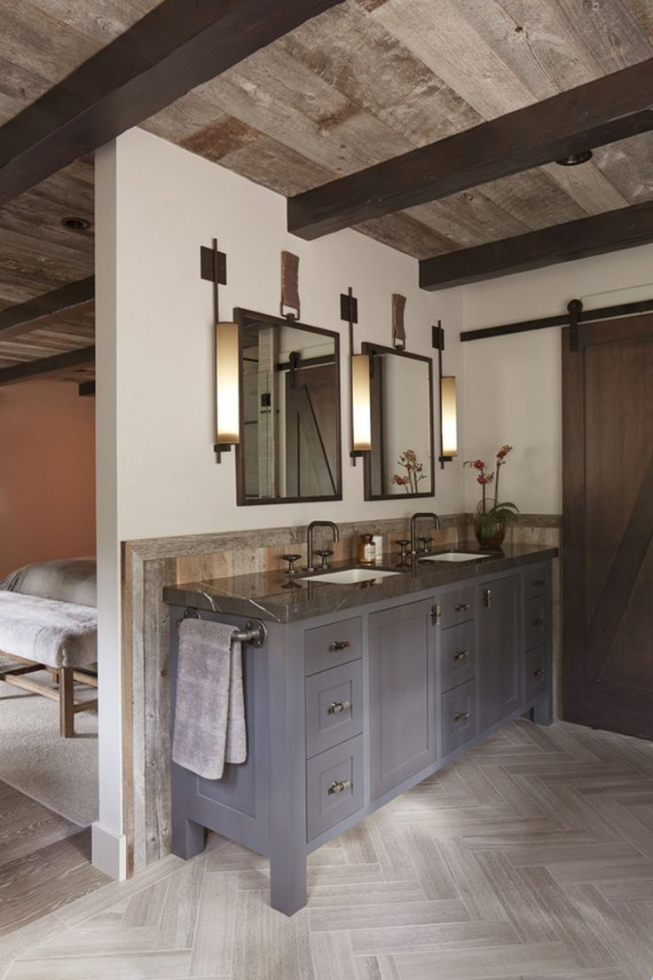 Rustic master bathroom with log walls amp undermount sink zillow digs - 99 Interior Design Ideas With Rustic Modern Style