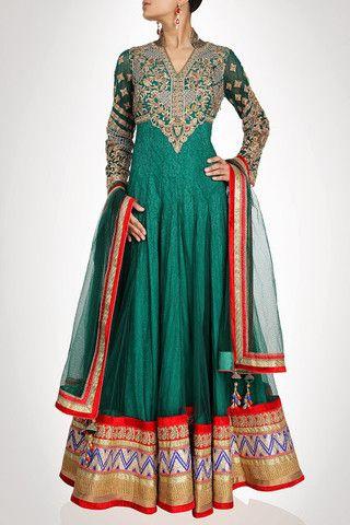 Sea green long length anarkali suit available online – Panache Haute Couture