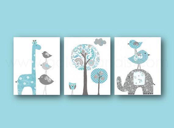 Lot de 3 illustrations pour chambre d'enfant et bebe, bleu gris, elephant, girafe