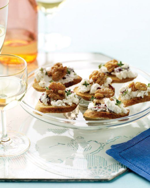 goat cheese cranberry and walnut canapes recipe cheese canapes and cranberries