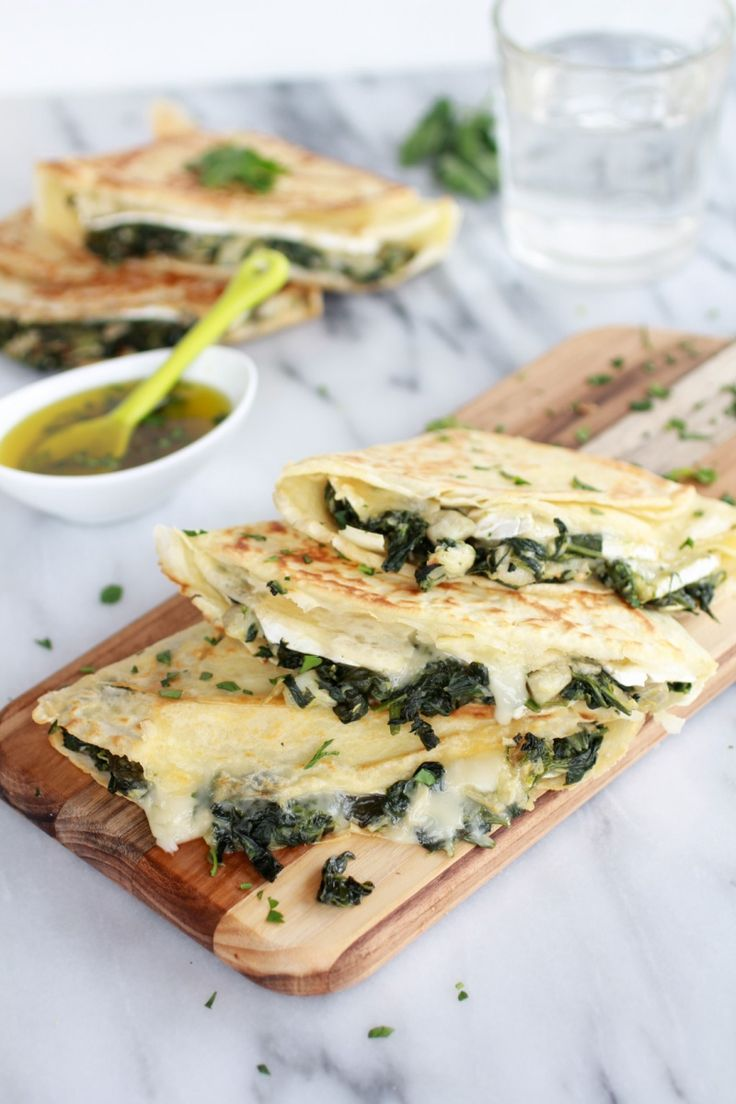 Spinach Artichoke & Brie Crepes with Sweet Honey Sauce