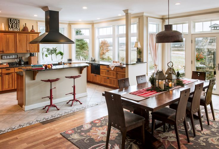 Maine's biggest salt marsh provides the scenic backdrop for Steve and Michelle Corry's wide-open kitchen at their Scarborough home.