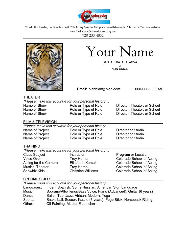 image result for acting resume template for kids