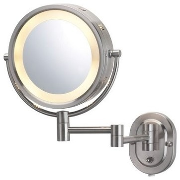 "Jerdon HL65N 8"" Wall Mount Halo Lighted Mirror in Nickel - traditional - makeup mirrors - - by PlumbingDepot.com"