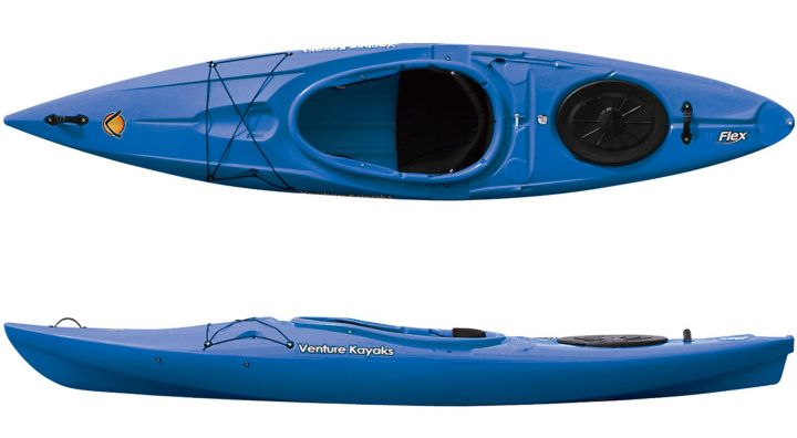 Jocassee Lake Tours - Kayak Rentals Venture Flex 11 Stable, spacious and reliable, the Flex 11 is designed with families in mind. In rough water or calm, you will always feel safe and secure. The Flex 11 is our fastest, most maneuverable kayak, yet it is plenty stable and roomy .It comes with an integrated skeg for tracking, a roomy cockpit, a rear hatch for ample dry storage, and a very comfortable, adjustable seat with backrest. Kids paddle this boat with ease! It's our best boat for…