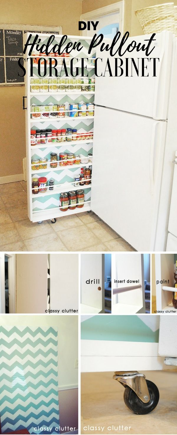 Check out the tutorial: #DIY Hidden Pullout Storage Cabinet @istandarddesign