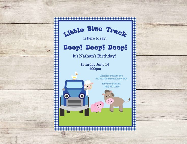 Little Blue Truck Birthday Invitation- Little Blue Truck Themed Birthday Party- Blue Truck Birthday Invite- Blue Gingham by CrowningDetails on Etsy https://www.etsy.com/listing/188123151/little-blue-truck-birthday-invitation