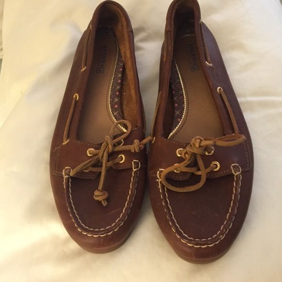 Sperry Leather Boat Shoes - never worn! These shoes are so classic but the wrong size. Never worn outside my house but tried to break them in. Medium brown leather. Purchased at Sperry store. Perfect condition. Sperry Top-Sider Shoes Flats & Loafers