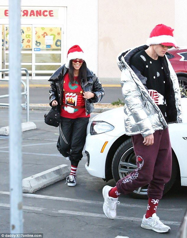 Mrs. Claus: Kourtney Kardashian played the role of Santa Claus with a quick run to the toy store in Los Angeles on Thursday afternoon
