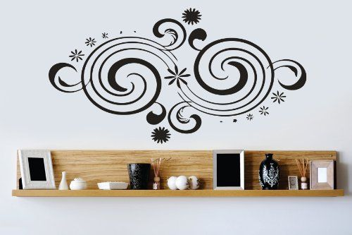 Housewares Vinyl Decal Ornament with Waves Home Wall Art Decor Removable Stylish Sticker Mural Unique Design for Room Perfectly fit for any clean, smooth and flat surface.. It is made of high-quality vinyl material. Send us message with color you choose from our color palette otherwise decal willbe shipped in Black. Size of this decal is 22''x35'' or 56x90cm. The decal is fully removable.  #HomeImprovement