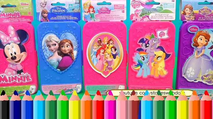 Learn Colors With Coloring Toys of Minnie Mouse, MLP, Frozen Anna and El...