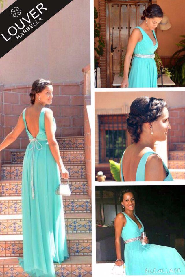 Vestido largo fiesta verde agua