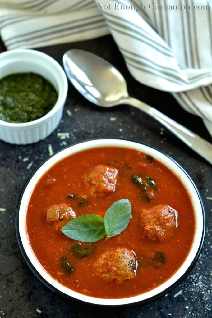 Italian Meatball Tomato Soup (Guest Post by Not Enough Cinnamon) | Re ...