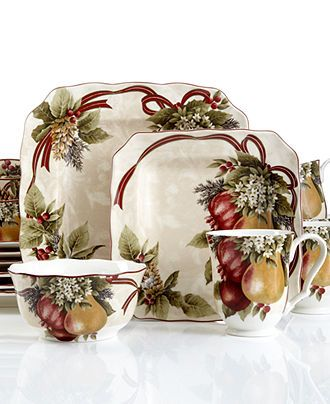 222 Fifth Dinnerware, Yuletide Celebration 16 Piece Set - Holiday Dining Sale - Dining & Entertaining - Macy's