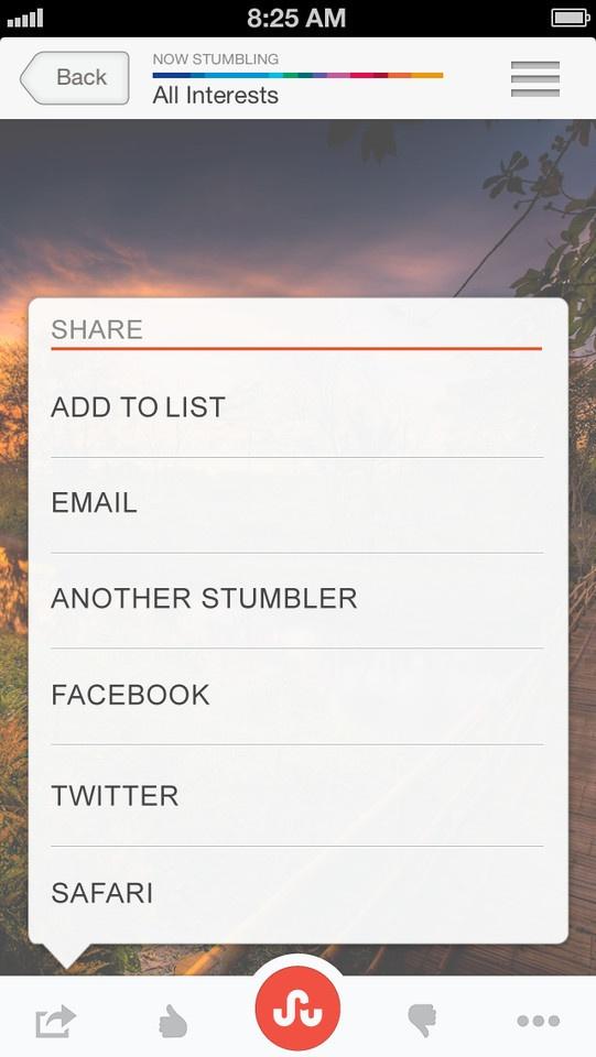 StumbleUpon娱乐手机应用界面设...