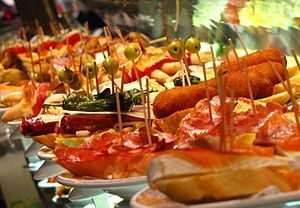 Tapas are EVERYWHERE in Spain. It is very common to go out for drinks and get free tapas. They are home made and vary in quality depending on where you go. #tapas #spain