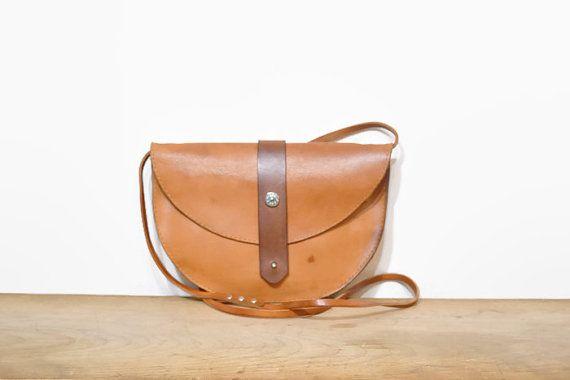 Hand Made Tan Leather Crossbody Purse Small Light by VVVBagCo