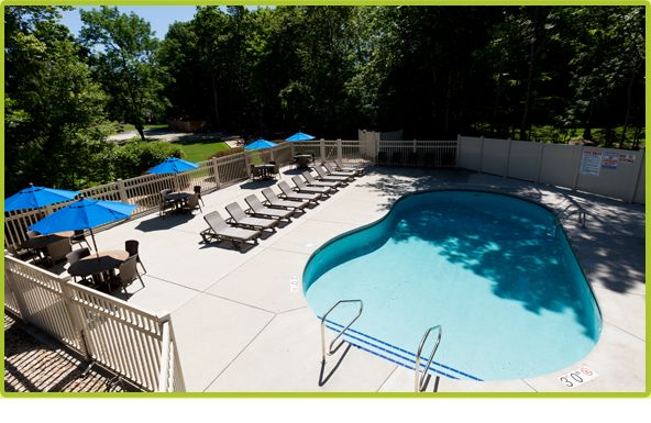 An outdoor pool in addition to an indoor pool at The Landmark Resort in Egg Harbor. The perfect Door County vacation destination.