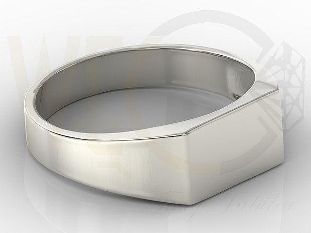 Sygnet z białego złota / Signet ring made from white gold / 1565 PLN #signet_ring #gold #jewelry #jewellery #man #sygnet #bizuteria #zloto