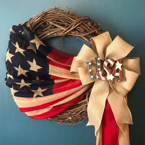 Americana Flag Wreath – Patriotic, July 4th, Memorial Day