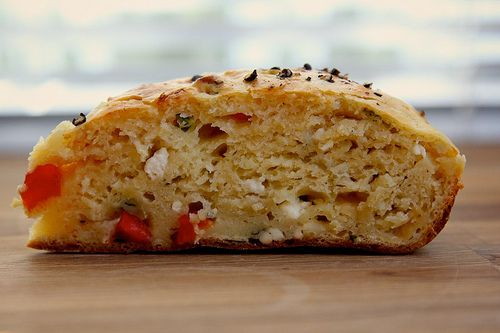 Zucchini Bread With Roasted Red Peppers And Feta Recipe — Dishmaps