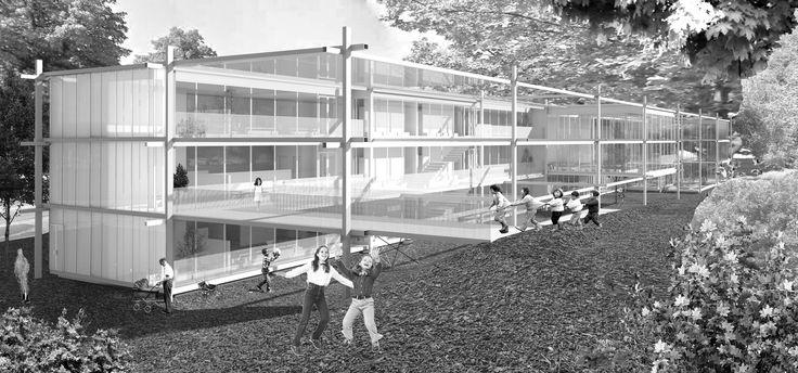 "Imberg Arkitekter - Proposal for ""Barnrum"" - A space for children in Stockholm. Illustration."