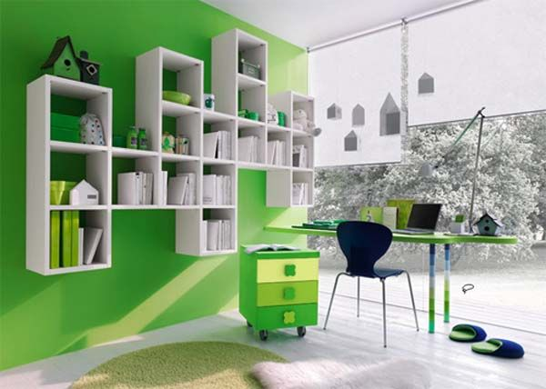 green study - colour love! Plus notice the stripy table legs :)