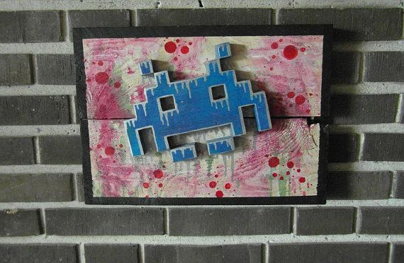 Space Invader - Wood Picture