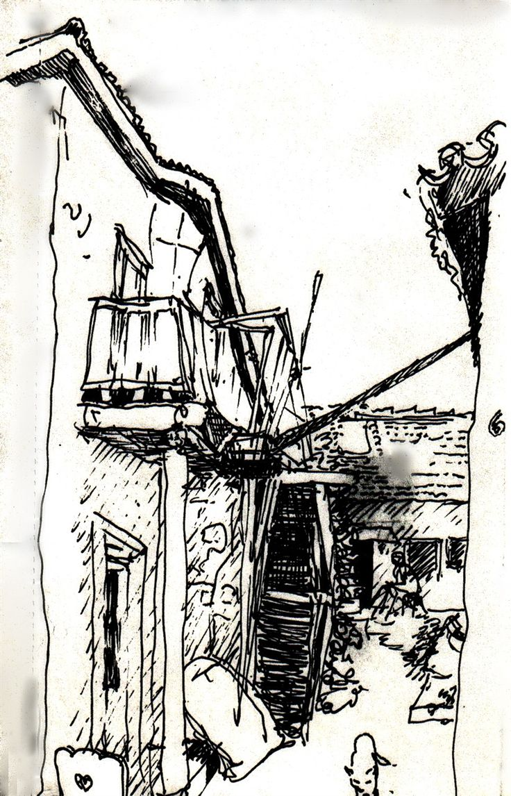 Staircase and Cat | Pen Drawing