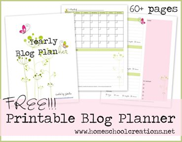 Free printable blog planner to help you organize your online life! Over 60 pages of helps that you can use year after year from Jolanthe at Homeschool Creations. www.homeschoolcreations.net: Blog Tips, Blog Planners, Blog Planning, Free Blog, Free Printables