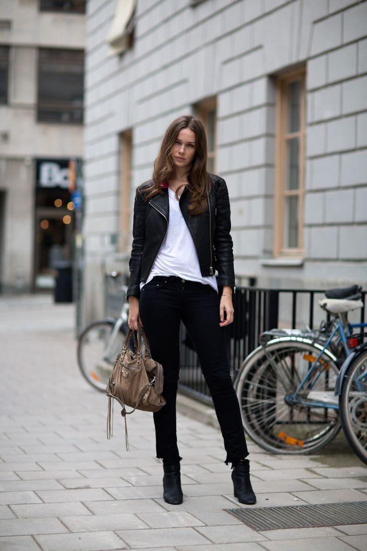 Caroline Blomst In A Black Leather Jacket From Rika