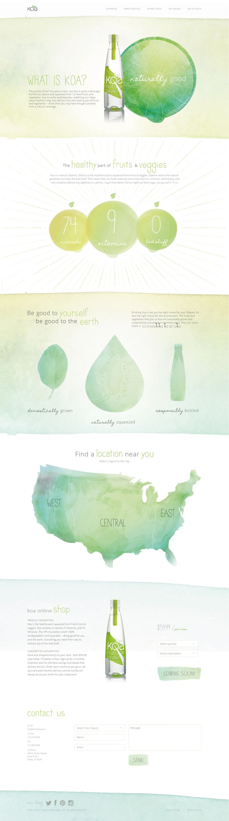 Unique Web Design, KOA Water http://www.drinkkoa.com/ by http://tractorbeam.com/ #Web #Design