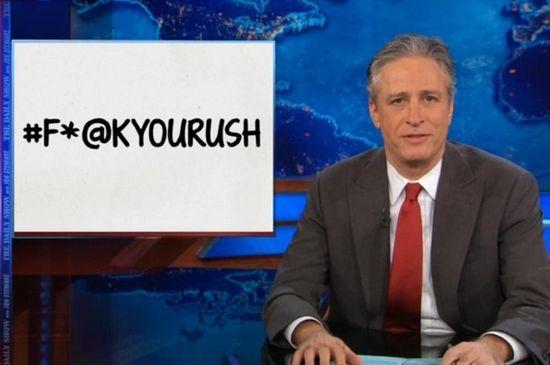 Jon Stewart starts #F*ckYouRush for Limbaugh attacking Michelle Obama over kidnapped Nigerian girls