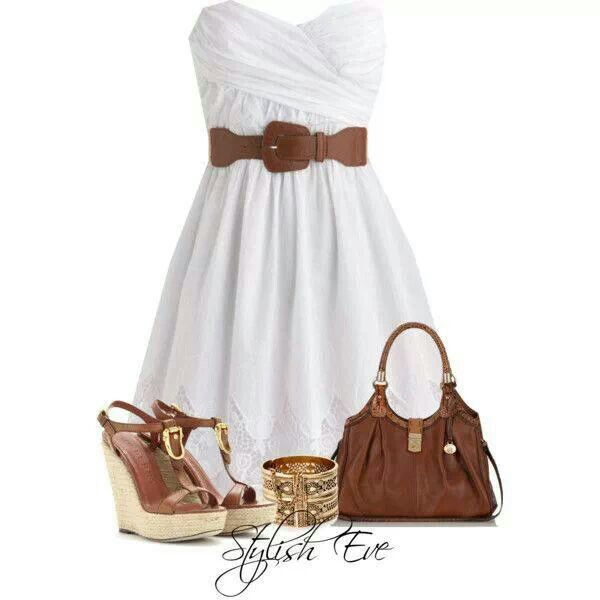 white dress brown belt with brown wedges shoes