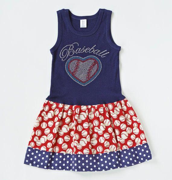 Girls Baseball Dress Girls Dress Girls Outfit by BabyThreadsByLiz @mindilian I am dying right now!!!