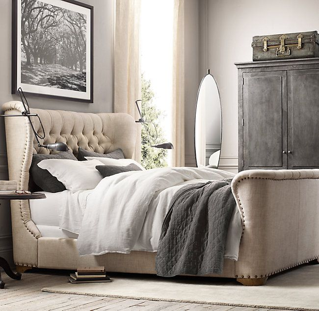 RH's Churchill Fabric Sleigh Bed With Footboard:An icon of library and den, we've reinterpreted our Churchill Reading Chair as a plush respite for the bedroom.