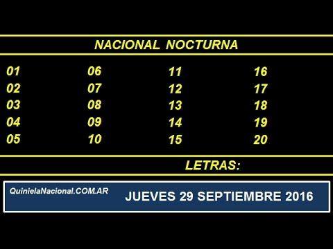 Video Quiniela Nacional Nocturna Jueves 29 de Septiembre de 2016 Pizarra del sorteo desde el recinto de Loteria Nacional de las 21:00